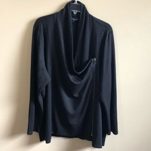 Additionelle Cowl Long Sleeve Cardigan Zipper